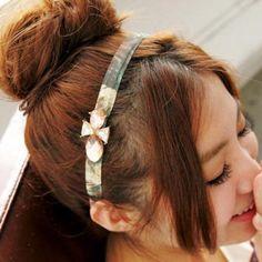 Jeweled Flower-Print Hair Band