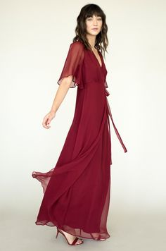Ethereal + kimono-inspired - perfect for any elegant occasion. Layers of whimsical silk create romance + a touch of 1970's bohemia.    STYLE DETAILS  100% silk + lined in 100% silk  (dry clean) Flattering wrap top, to accommodate any bust size Invisible zip side closure, making this A-line skirt flat + slimming against the tummy Valentina is 5'9 + wearing a size small     HOW IT'S MADE  Designed by LILY at HER STUDIO in Venice, California Made by hand by OUR TEAM in downtown Los Angeles