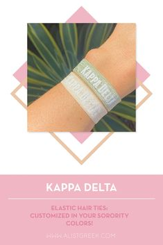 Sorority hair ties are the easiest gift for any celebration: Recruitment, Bid Day, Back to School & Big/Little. Spoil your new sorority girl with a hair tie set! Kappa Delta Gifts | Kappa Delta Bid Day | KD Hair Ties | Kappa Delta New Pledge Gift | Sorority Bid Day | Sorority Recruitment | Sorority Hair Tie Gifts | Sorority College Gift | Sorority New Member Gift Ideas #SororityGifts #SororityHairTies Sorority Bid Day, College Sorority, Sorority Recruitment, Sorority Gifts, Normal School, Bid Day Themes, Hair Tie Bracelet, Greek Design, College Gifts
