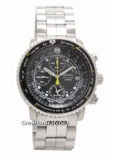 Seiko Flight Alarm Chronograph SNA411P1 SNA411P SNA411 Pilot's Watch