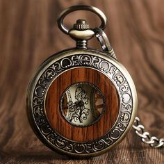Steampunk Wooden Retro Pocket Watch