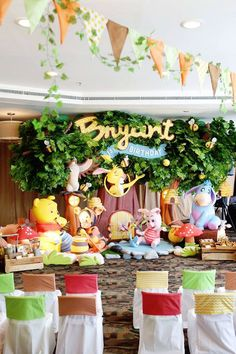 Party Backdrop + Sweet Display from a Winnie the Pooh Themed Birthday Party via Kara's Party Ideas! KarasPartyIdeas.com (17)