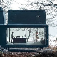 """I often think to create a weekend cabin like this one overlooking a lake. Cabin by vipp architect """"the shelter"""" cabin vipp nature lake wellness wild autumn minimal black iron lifestyle weekend retreat design style architecture Modern Mountain Home, Mountain Homes, Prefabricated Houses, Prefab Homes, Montevideo, Cabin Design, House Design, Industrial Design Company, Country Retreats"""
