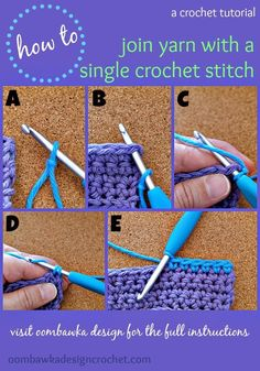 How To Join with a Single Crochet Stitch I like to use this technique to join new yarn for amigurumi and any other project I am working in single crochet. How To Join New Yarn with a Single Crochet Stitch Step A: Place a slipknot on your . Crochet 101, Stitch Crochet, Single Crochet Stitch, Crochet Basics, Crochet For Beginners, Learn To Crochet, Crochet Crafts, Crochet Yarn, Crochet Hooks