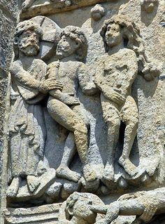 Adam and Eve ejected, archivolt of Puerta de las Platerias, Cathedral of Santiago de Compostela, Spain.