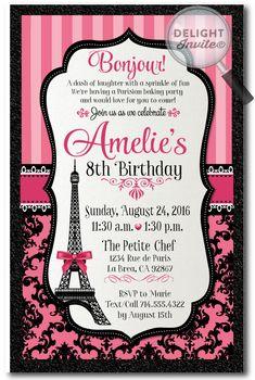 7 Best Paris Themed Patisserie Birthday Invitation Set Images