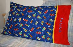 Rocket Ships and Space Pillowcase Blue Red by BunnyCraftsNFiber, $14.00
