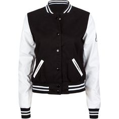 ASHLEY Faux Leather Sleeve Womens Varsity Jacket