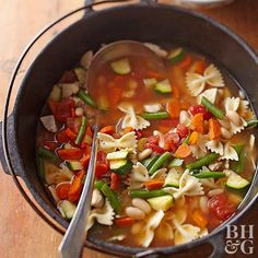 Serve this traditional minestrone soup of fresh vegetables and pasta as your main course. It's full of carrots, celery, and zucchini for a veggie-packed meal.