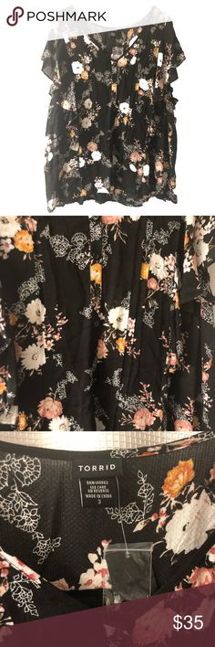 Torrid Black Floral Blouse New New with original tags torrid Tops Blouses