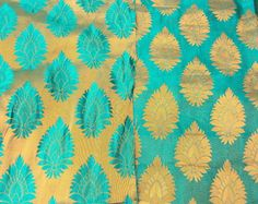 Reversible Turquoise and Golden Silk Brocade Fabric Fat Quarter India. $3.25, via Etsy.