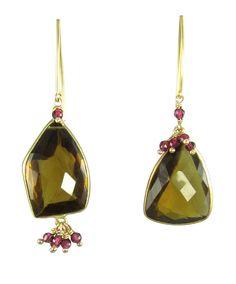 perfectly mismatched whiskey quartz with pinned rhodalite by Nan Fusco Jewelry, Laguna Beach
