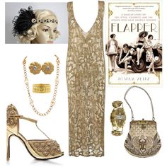 Dance and have fun  gold flapper headband from Blueskyhorizons  Flapper by lone-star-lady on Polyvore featuring moda