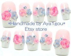Wedding bridal  japanese 3d nail art  flowers on french by Aya1gou, $20.00