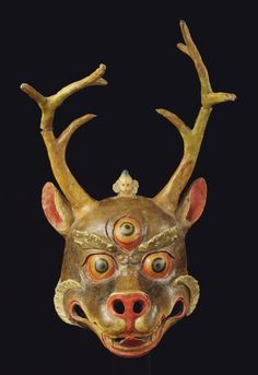 Tibetan Buddhist Cham Deer Mask, Tibet