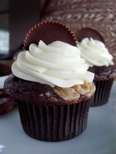 Chocolate Cupcakes with Peanut Butter Filling,  topped with Cream Cheese Buttercream Frosting ~ yummy recipe