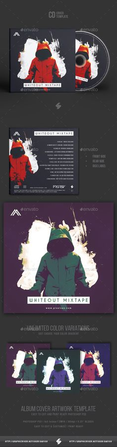 Whiteout Mixtape - CD Cover Artwork Template - #CD & DVD #Artwork Print #Templates Download here: https://graphicriver.net/item/whiteout-mixtape-cd-cover-artwork-template/19403192?ref=alena994