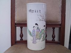 Large Chinese republic cylinder vase decorated with Imperial court ladies & poem