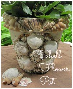 Opulent Cottage: Decorative shell encrusted flower pot