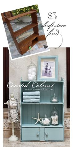 Mini Shelf Makeover : Turn a frumpy dated piece into a coastal cutie! This little mini shelf is totally transformed! Confessions of a Serial Do-it-Yourselfer Diy Furniture Projects, Refurbished Furniture, Repurposed Furniture, Furniture Making, Furniture Makeover, Painted Furniture, Home Furniture, Automotive Furniture, Automotive Decor