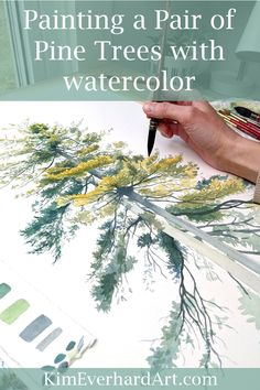 Painting a pair of pine trees. Watercolor painting process, art tools and materi. Tree Watercolor Painting, Easy Watercolor, Watercolor Landscape, Watercolor Artists, Watercolor Illustration, Watercolor Flowers, Watercolor Animals, Watercolor Background, Abstract Watercolor