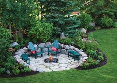 I love little nooks of serenity nestled among the flowers and trees in a backyard. This is more of an upscale campfire design, but it looks easy enough to create.