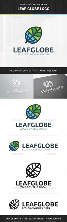 Leaf Globe Logo Template,agency, blue, care, company, eco, environment, forest, global, globe, green, international, leaf, logo, nature, template, world