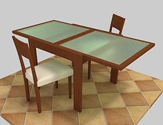 Modern Wood Table Frosted Glass C4d - 3D Model