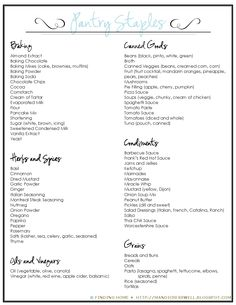 (*subgroups listed w/some items.ie oils) Master grocery list Pantry Staples List, Pantry List, Pantry Essentials, Pantry Ideas, Pantry Inventory, Binder Organization, Grocery Lists, Menu Planning, Food Storage