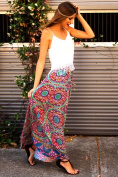 FIRST SPRING MAXI SKIRT - Dissh fall outfits womens fashion clothes style apparel clothing closet ideas colorful skirt white top