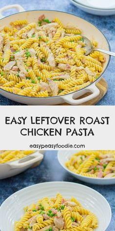 Got a small amount of leftover roast chicken? Need a speedy but delicious recipe? Then this Easy Leftover Roast Chicken Pasta is for you! (No leftover roast chicken? Just use ready cooked chicken from the supermarket.) #pasta #chicken #chickenpasta #leftoverroastchicken #roastchickenleftovers #loveyourleftovers #leftoverspasta #easymidweekmeals #easymeals #midweekmeals #easydinners #dinnertonight #dinnertonite #familydinners #familyfood #easypeasyfoodie #cookblogshare Roast Chicken Pasta, Cooked Chicken, Yum Yum Chicken, How To Cook Chicken, Chicken Bacon, Yummy Pasta Recipes, Roast Recipes, Chicken Recipes, Lunch Box Recipes