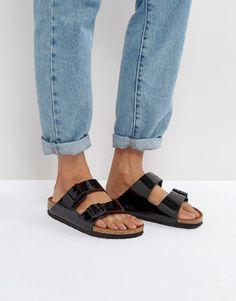 0f49fc2ed567d5 Birkenstock Arizona Birko Black Patent Flat Sandals Flache Sandalen