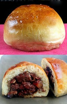 Baked Chinese BBQ Pork Buns. Tender, velvety dough wrapped around melt-in-your-mouth, saucy, garlicky red roast pork, then topped with sea salt and baked to golden perfection. You won't be able to stop at one! #chinesefoodrecipes