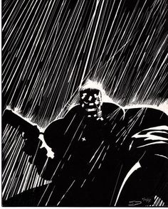 Rain effect - Sin City Frank Miller Sin City, Frank Miller Art, Sin City Comic, Dc Comics, Tracing Art, Black And White Comics, Dark Drawings, Black And White Illustration, Funny Tattoos