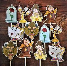 BELLEZA y las bestia Cupcake Toppers / pastel Toppers troquel cortes / cumpleaños / decoraciones / Cake Pops / suministros / Decor / envío rápido