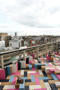 London College of Fashion rooftop. Timber floor is laid in a herringbone pattern (Studio Waves)