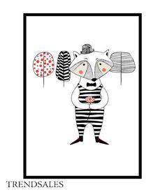 Eget Design - Grafisk illustration, billede, plakat, poster. Racoon tree