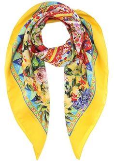#Dolce&Gabbana Printed silk-twill #scarf