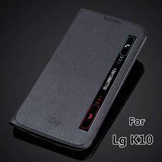 Ventana de Visualización Inteligente caso de la cubierta para LG K10 K410 K420N rápida Auto sleep cubierta del tirón fino estupendo estuche de cuero