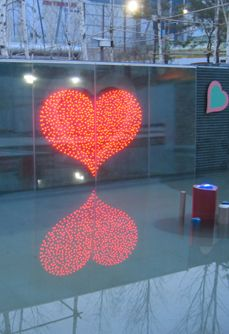 """Power Glass  """"Laminated glass panels that incorporate LED lighting with no visible wires. Clear conductive polymer films are used to transfer electricity to the white or colored LEDs that are embedded in PVB layers in-between the safety glass panes. """""""