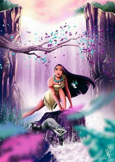 Pocahontas am Wasserfall von MaxiePerlberg auf DeviantArt - Disney ~ Disney Pixar, Arte Disney, Disney Animation, Disney Cartoons, Disney Magic, Disney Movies, Disney Characters, Disney Cruise, Disney Artwork