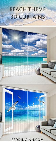 Want to have a relaxed atmosphere for your room?These 3D beach theme decorative curtains can help.Let you feel like at the seaside.