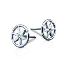 Evador flower stud earrings. Handmade in sterling silver and diamonds.