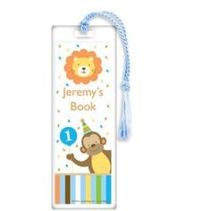 Baby Animals 1st Birthday Boy Personalized Bookmark (each)