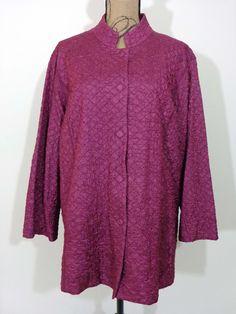 Eileen Fisher jacket lagenlook top Mulberry Tussah Silk upscale designer sz 2X #EileenFisher #BasicCoat