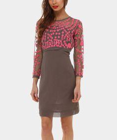Look at this #zulilyfind! Gray & Pink Daniela Dress #zulilyfinds