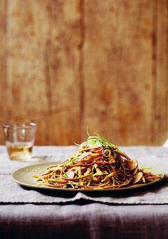 soba noodle salad w rainbow vegetables and sesame dressing