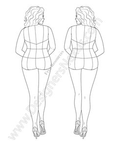 Free download fashion figure template of plus size croqui in a back view pose to show off your plus size fashion illustrations! Use this fashion illustration template to sketch plus size apparel designs with novelty back designs. This plus size croqui is shown with guide lines (center back , princess lines, waist line, etc.) for …