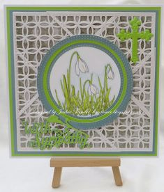 Tinyrose's Craft Room: Snowdrop Lattice Sympathy Card. Made with the Sandwich box die set from John Next Door and the Snowdrop Elements stamp set from Creative Expressions.