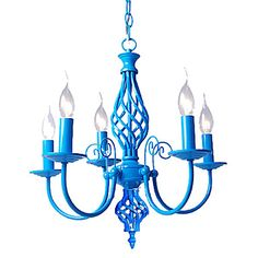 Spray paint it to match the comforter. E14x5 Sky Blue Color Chandelier Modern Pendant light for Bedroom Living Room  – USD $ 89.99